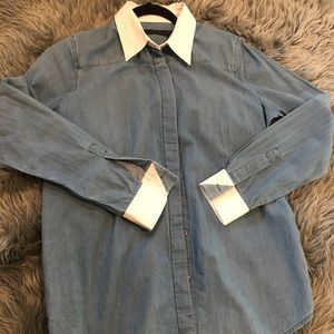 Karl Lagerfeld Chambray Contrast Collar Top